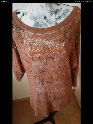 Jean Pascale Crochet Sweater cognac-coloured