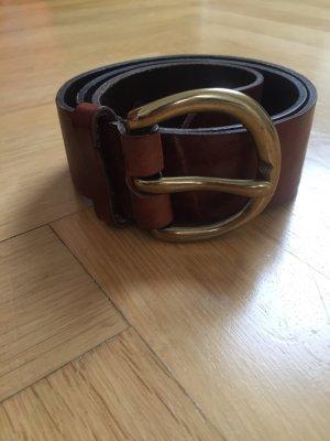 Hallhuber Cinturón de cuero marrón