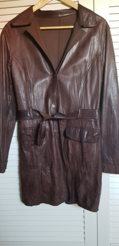 GIMO'S Leather Coat brown-dark brown
