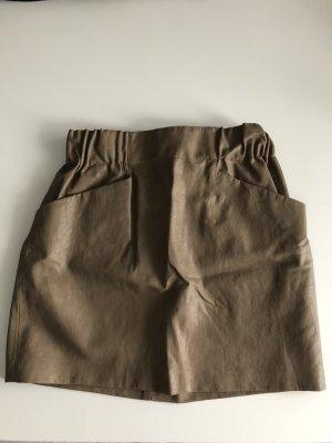 Zara Basic Falda de cuero de imitación marrón claro-marrón grisáceo