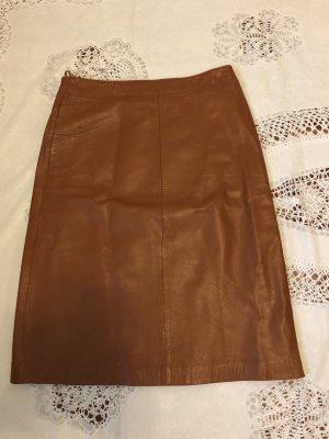 Closed Falda de cuero marrón