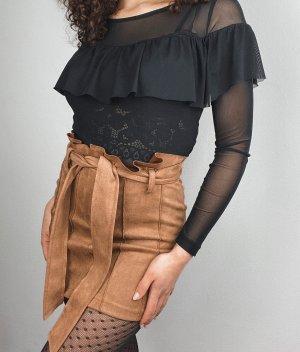 Bohoo Miniskirt beige-cognac-coloured