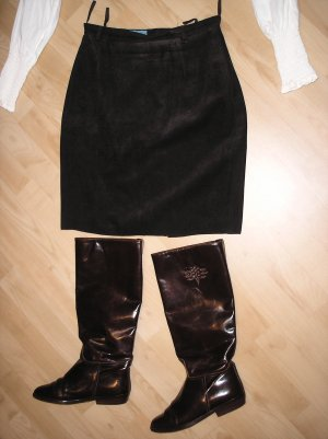 Brauner Minirock aus Velourleder-  Gr.36
