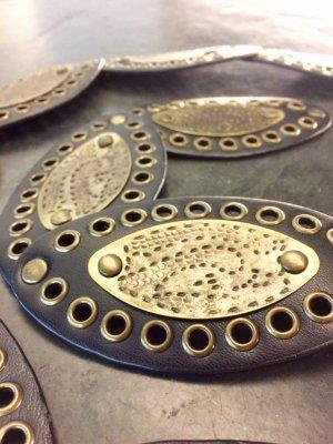 Cinturón de cuero de imitación color bronce-marrón oscuro Imitación de cuero