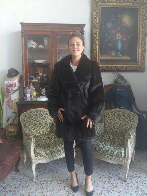 Futrzany płaszcz ciemnobrązowy Futro