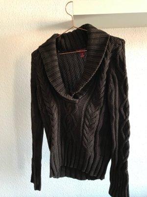brauner Pullover mit Zopfmuster, V-Ausschnitt, H&M/L.O.G.G. Größe M