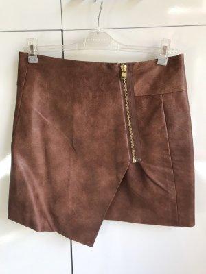 H&M Faux Leather Skirt cognac-coloured