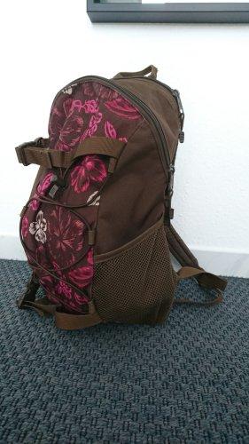 Brauner Rucksack mit pinken Hawaiiblumen