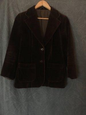 Vintage Blazer boyfriend brun foncé-brun coton