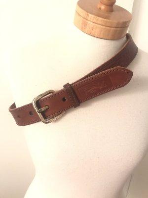 Brauner Vintage-Gürtel * Echtleder * von Jet Set/Blue System * mit altsilberfarbener Vintage-Schnalle