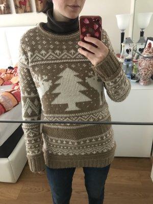 Brauner Weihnachtswollpullover mit Rehen