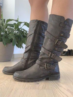 Brauner winter Stiefel mit Bänder an der Seite