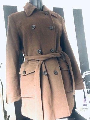 Manteau en laine cognac-brun laine