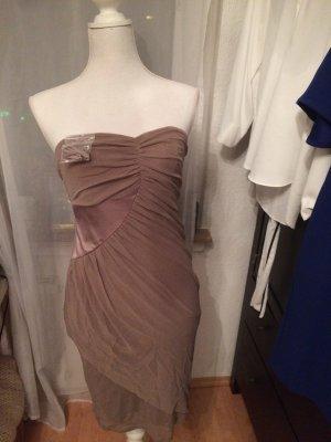 Braunes Beiges Kleid schulterfrei XS