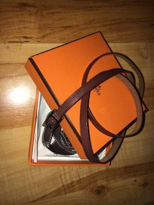 Hermès Bracelet en cuir brun-brun foncé