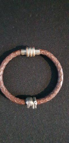 Lederen armband bruin-donkerbruin