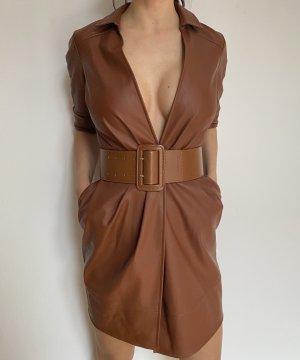 Elisabetta Franchi Vestito in pelle marrone