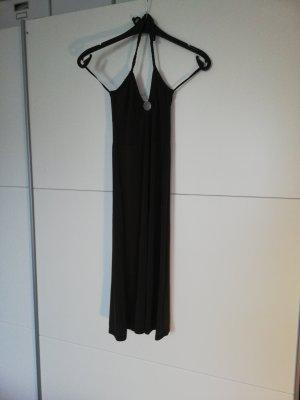 Braunes, lockeres Kleid, neck holder Motivi