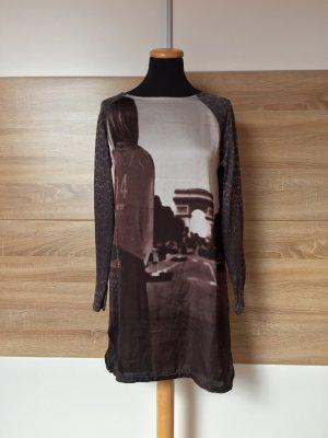 Braunes Longshirt Leo Print, Kleid Bluse von Zara, Gr. M (NEU)