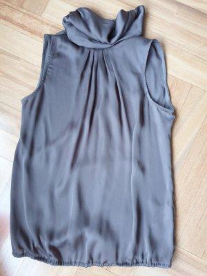 Zara Basic Top con colletto arrotolato marrone scuro Poliestere