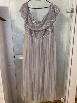 Brautjungfer oder Abendkleid grau - Silber