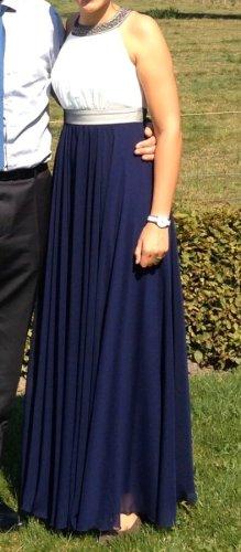 Robe de bal blanc-bleu foncé