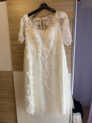 Milanoo Suknia ślubna biały-kremowy Tkanina z mieszanych włókien