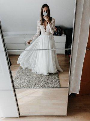 Bruidsjurk wit-wolwit Zijde