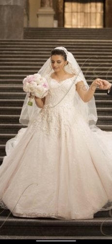 Suknia ślubna biały-różany