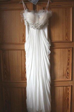 Brautkleid, Hochzeitskleid, Empire, Gr. 36, S, Federn, ivory, kurze Länge!