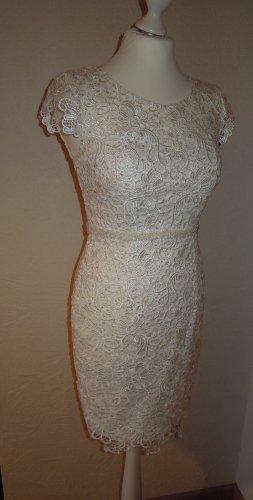 Brautkleid knielang Magic Bride Magic Nights Luxuar Perlen Pailletten Größe 44 ivory Kurzarm Ärmel Spitze Vintage Braut