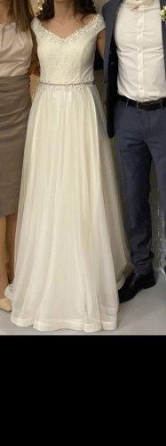 Bruidsjurk wit-lichtblauw