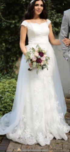 Brautkleid standesamtkleid mit abnehmbarer Tüllschleppe