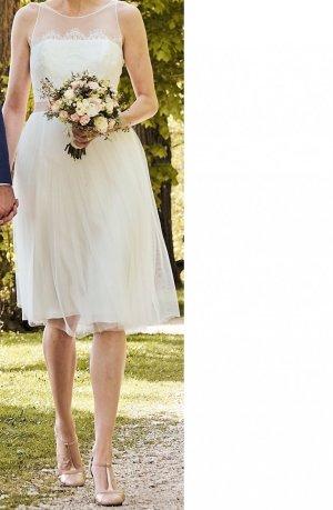 Brautkleid / Standesamtkleid (S-M), Tüll, Spitze, kurz / knielang