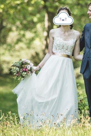 Falda de tul blanco-blanco puro tejido mezclado