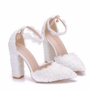Sandaletto con tacco alto bianco Pelle