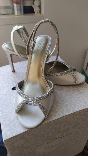 Brautschuhe Schuhe weiss Satin Gr. 39 Strass