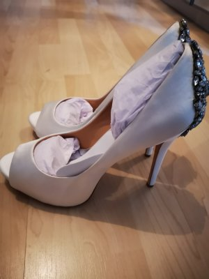 Badgley Mischka Peep Toe Pumps white