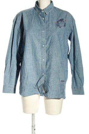 brava FABRICS Shirt met lange mouwen blauw geborduurde letters