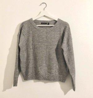 Brave Soul Sweter z dzianiny szary-biały Tkanina z mieszanych włókien