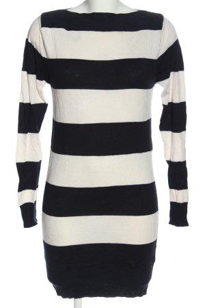 Brave Soul Feinstrickpullover weiß-schwarz Streifenmuster Casual-Look