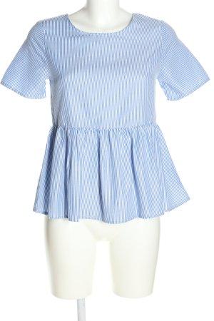 Brave Soul Kurzarm-Bluse weiß-blau Streifenmuster Casual-Look