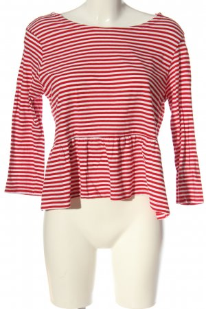 Brave Soul Langarm-Bluse rot-weiß Streifenmuster Casual-Look