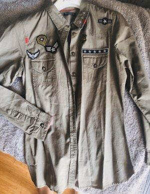 Brave Soul London Bluse Hemd Gr. M in Khaki und mit Applikationen