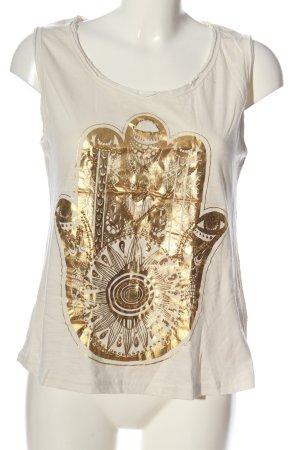 Brave Soul Długi top biały-złoto Nadruk z motywem W stylu casual
