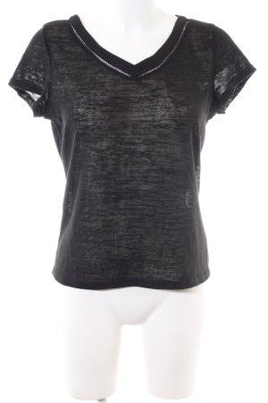 Brave Soul Camisa de malla negro moteado look casual