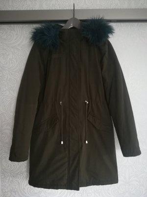 Brave Soul Parka mit Kapuze und Webpelz / Mantel / Wintermantel / Fake Fur, khaki/petrol