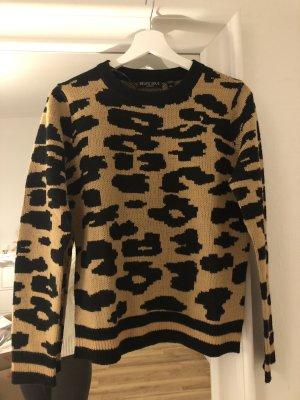 brave soul Pullover mit Leoparden Print