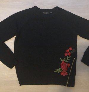 Brave Soul Pullover schwarz rot Rose floral Reißverschluss gold Größe S
