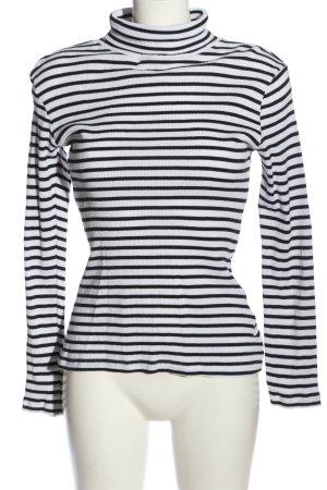 Brave Soul Sweter z golfem biały-czarny Wzór w paski W stylu casual
